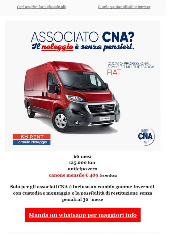 La tua nuova auto o il furgone che ti serviva? Prendili a noleggio ad un prezzo straordinario per gli associati CNA