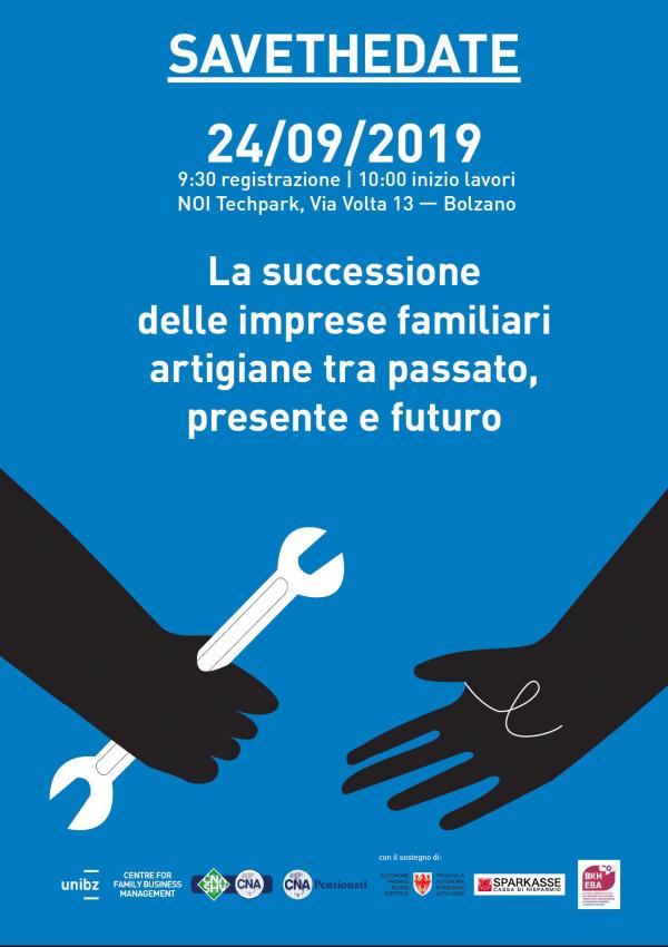 CNA e UNIBZ. Successione nelle imprese artigiane e pensionati attivi, martedì 24 settembre la presentazione dei risultati del progetto di ricerca PASSA
