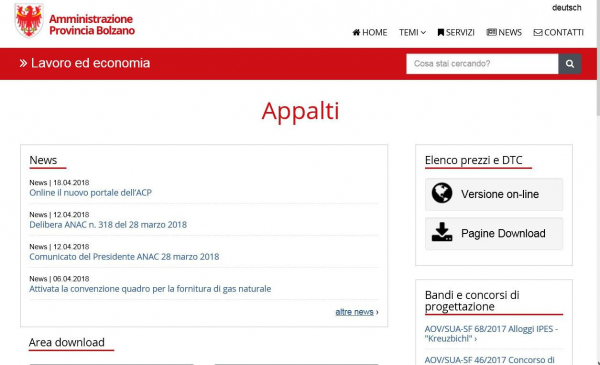 Appalti, online il nuovo portale web